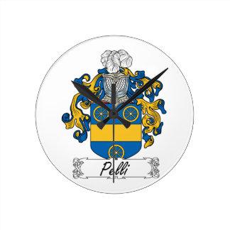 Escudo de la familia de Pelli Reloj De Pared