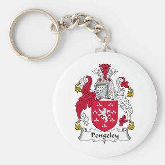 Escudo de la familia de Pengeley Llavero Redondo Tipo Pin