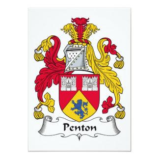 Escudo de la familia de Penton Invitación 12,7 X 17,8 Cm