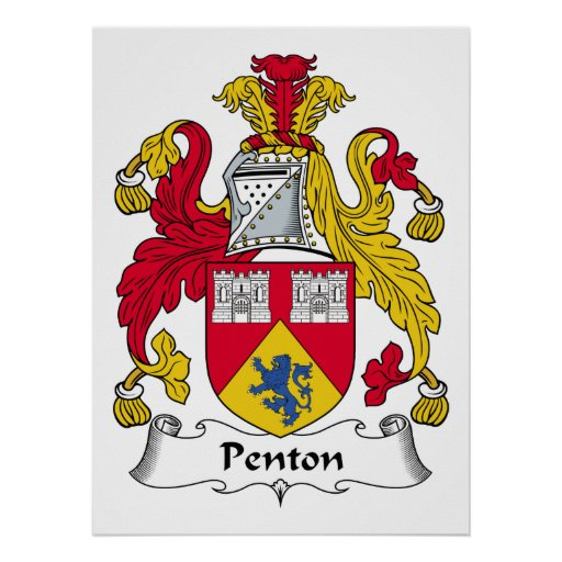 Escudo de la familia de Penton Póster