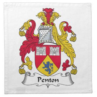 Escudo de la familia de Penton Servilleta Imprimida