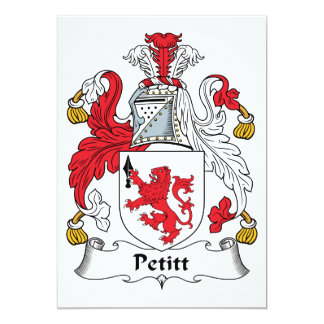 """Escudo de la familia de Petitt Invitación 5"""" X 7"""""""