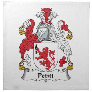 Escudo de la familia de Petitt Servilleta Imprimida