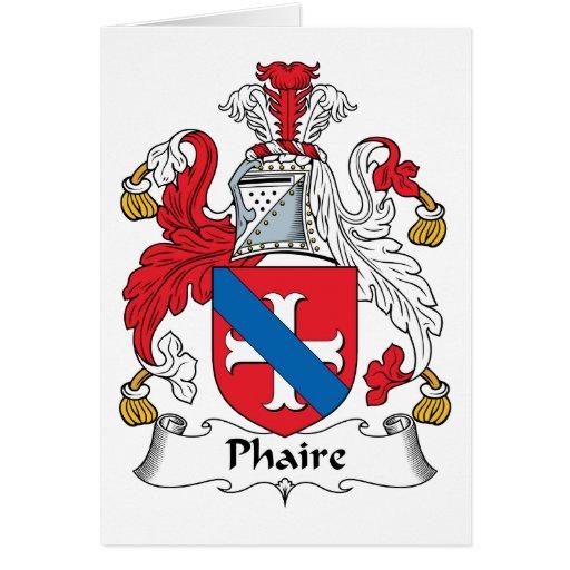 Escudo de la familia de Phaire Felicitaciones