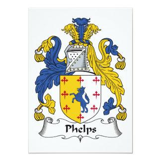 """Escudo de la familia de Phelps Invitación 5"""" X 7"""""""
