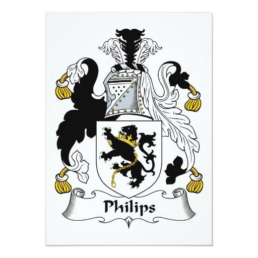 """Escudo de la familia de Philips Invitación 5"""" X 7"""""""