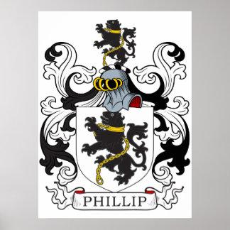 Escudo de la familia de Phillip (Galés) Póster