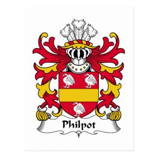 Escudo de la familia de Philpot Tarjetas Postales