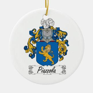 Escudo de la familia de Piazzola Adorno Navideño Redondo De Cerámica