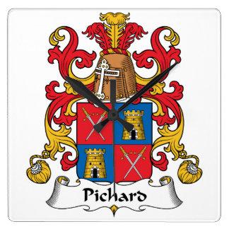 Escudo de la familia de Pichard Reloj De Pared