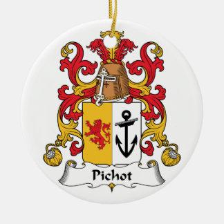 Escudo de la familia de Pichot Adorno Navideño Redondo De Cerámica