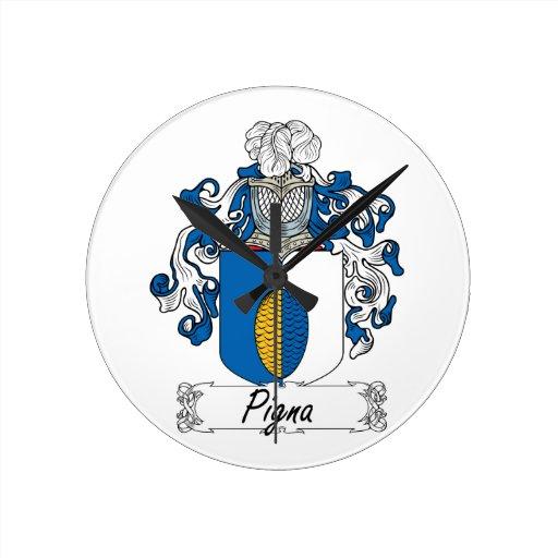 Escudo de la familia de Pigna Reloj Redondo Mediano