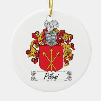 Escudo de la familia de Piloni Adorno Redondo De Cerámica