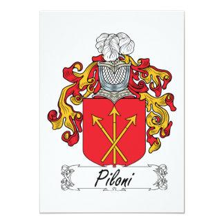 """Escudo de la familia de Piloni Invitación 5"""" X 7"""""""