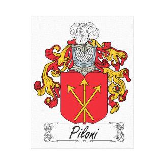 Escudo de la familia de Piloni Lienzo Envuelto Para Galerías