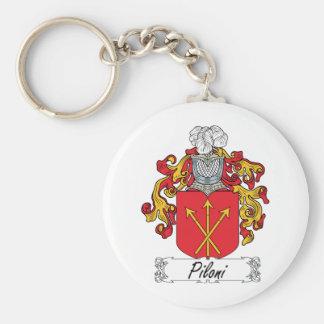 Escudo de la familia de Piloni Llavero Redondo Tipo Pin