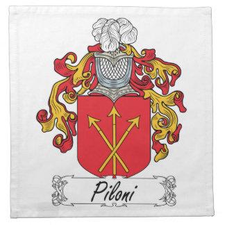 Escudo de la familia de Piloni Servilleta Imprimida