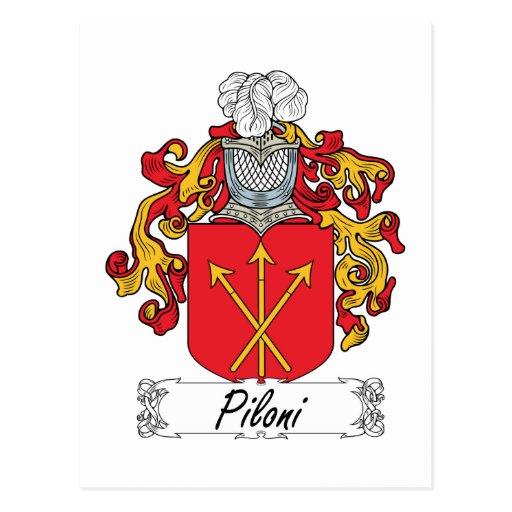 Escudo de la familia de Piloni Tarjeta Postal