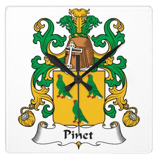 Escudo de la familia de Pinet Reloj Cuadrado