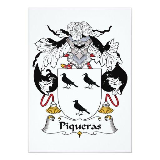 """Escudo de la familia de Piqueras Invitación 5"""" X 7"""""""