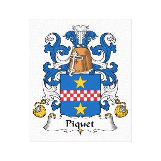 Escudo de la familia de Piquet Lona Envuelta Para Galerias