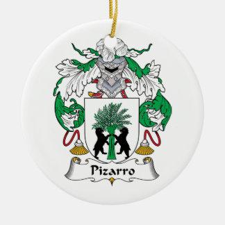Escudo de la familia de Pizarro Adorno Navideño Redondo De Cerámica
