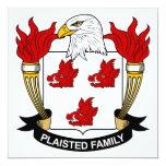 Escudo de la familia de Plaisted Invitación 13,3 Cm X 13,3cm