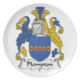 Escudo de la familia de Plompton Plato De Cena