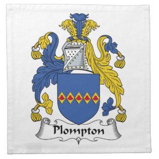 Escudo de la familia de Plompton Servilletas Imprimidas