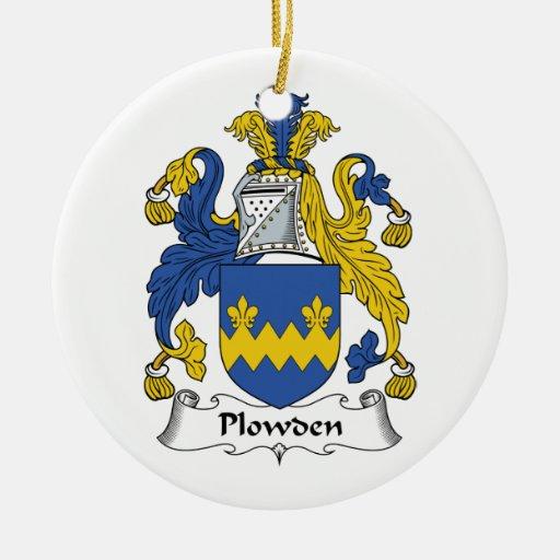 Escudo de la familia de Plowden Adorno Redondo De Cerámica