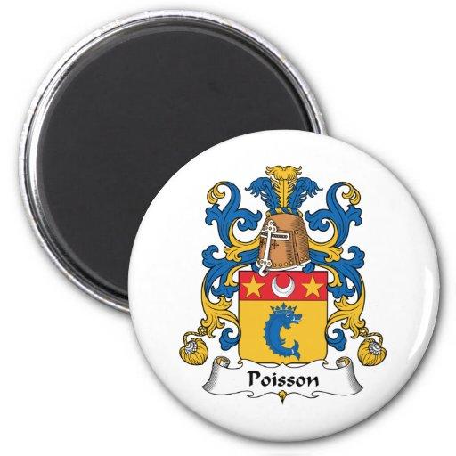 Escudo de la familia de Poisson Imán Redondo 5 Cm
