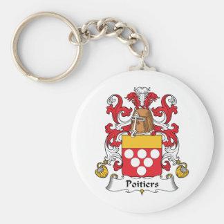 Escudo de la familia de Poitiers Llavero Redondo Tipo Pin
