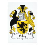 Escudo de la familia de Poley Invitación 12,7 X 17,8 Cm