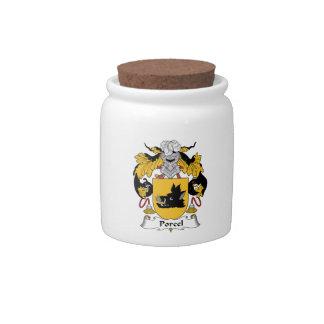 Escudo de la familia de Porcel Plato Para Caramelo