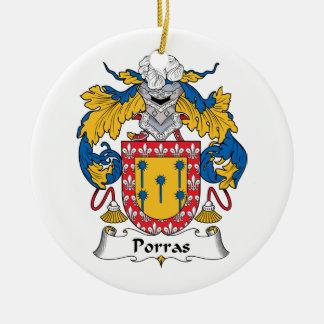 Escudo de la familia de Porras Adorno Navideño Redondo De Cerámica
