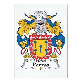 Escudo de la familia de Porras Invitación 12,7 X 17,8 Cm