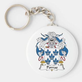 Escudo de la familia de Porras Llavero Redondo Tipo Pin