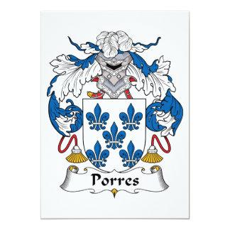 Escudo de la familia de Porres Invitación 12,7 X 17,8 Cm