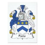 Escudo de la familia de Porte Invitación 12,7 X 17,8 Cm