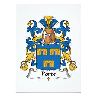 """Escudo de la familia de Porte Invitación 6.5"""" X 8.75"""""""