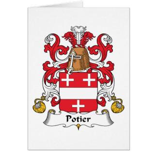Escudo de la familia de Potier Tarjeta De Felicitación