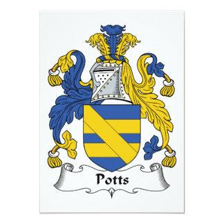 """Escudo de la familia de Potts Invitación 5"""" X 7"""""""