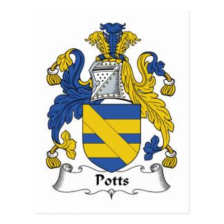 Escudo de la familia de Potts Tarjeta Postal