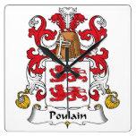 Escudo de la familia de Poulain Reloj De Pared