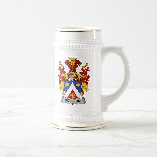 Escudo de la familia de Poulson Tazas De Café