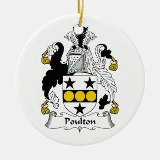 Escudo de la familia de Poulton Adorno Redondo De Cerámica