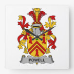 Escudo de la familia de Powell Relojes De Pared