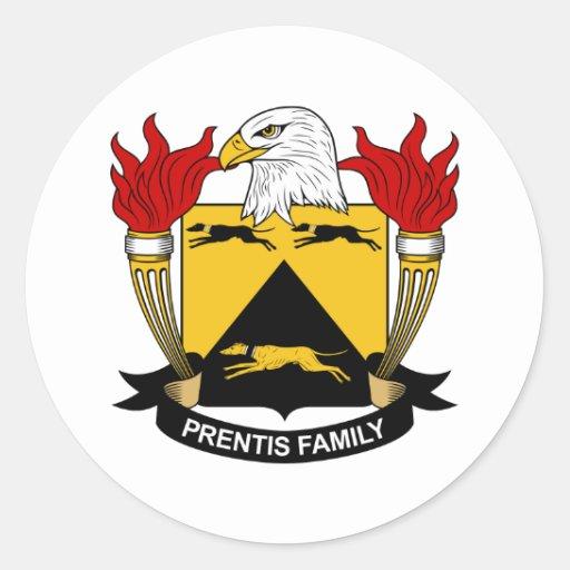 Escudo de la familia de Prentis Pegatinas Redondas