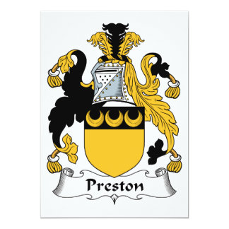 """Escudo de la familia de Preston Invitación 5"""" X 7"""""""