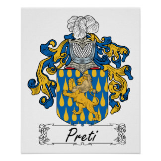 Escudo de la familia de Preti Póster